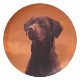 Schwarzes Labrador-Hundeporträt Melaminteller