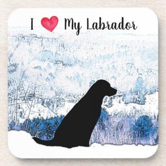 Schwarzes Labrador - i-Liebe mein Labrador Untersetzer