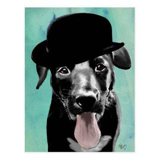 Schwarzes Labrador in der Melone Postkarte