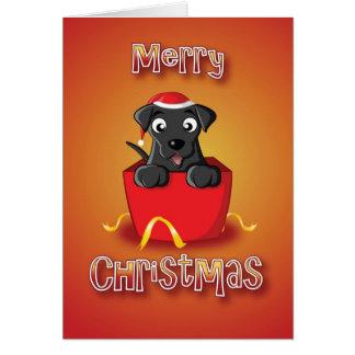 schwarzes Labrador - Kasten - frohe Weihnachten Karte