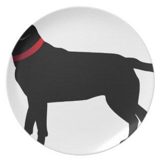 Schwarzes Labrador mit rotem Kragen Melaminteller