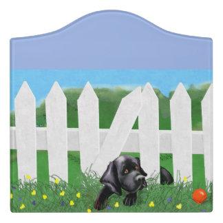 Schwarzes Labrador-Raum-Zeichen Türschild