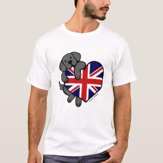 Schwarzes Labrador u. Cartoon des T-Shirt