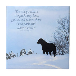 Schwarzes Labrador - Weg-Leben-Zitat 2 Fliese