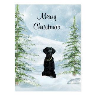 Schwarzes Labrador Weihnachten Postkarten
