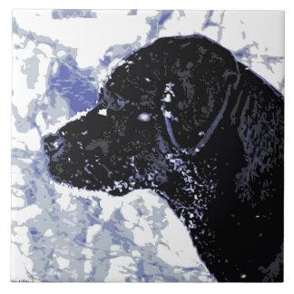 Schwarzes Labrador - Winter-Märchenland Fliese