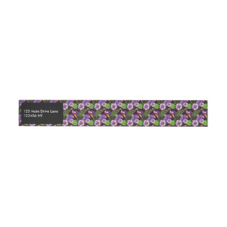 Schwarzes lila tropisches Flora Watercolormuster Adressband