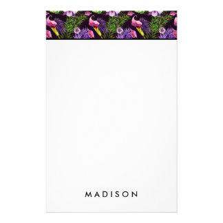 Schwarzes lila tropisches Flora Watercolormuster Briefpapier