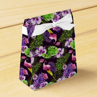 Schwarzes lila tropisches Flora Watercolormuster Geschenkschachtel