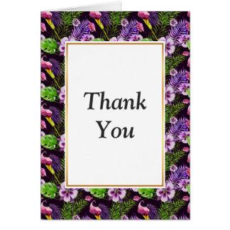 Schwarzes lila tropisches Flora Watercolormuster Mitteilungskarte