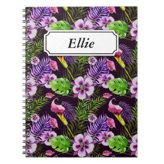 Schwarzes lila tropisches Flora Watercolormuster Spiral Notizblock