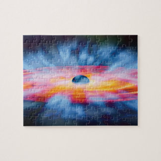 Schwarzes Loch-Ausflüsse - buntes Künstler-Konzept Puzzle