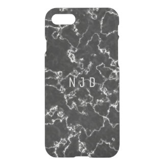 Schwarzes Marmormonogramm iPhone 8/7 Hülle