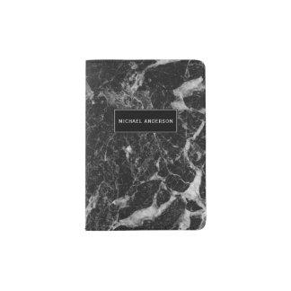 Schwarzes Marmormuster mit kundenspezifischem Passhülle
