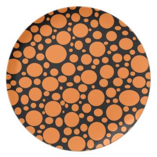Schwarzes Meer der orange Blasen-Platte Party Teller