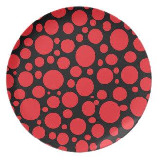 Schwarzes Meer der roten Blasen-Platte Party Teller