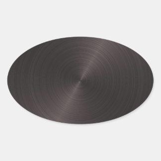Schwarzes Metall Ovaler Aufkleber
