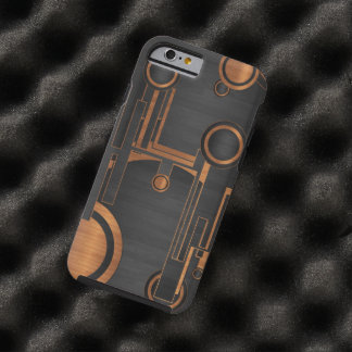 schwarzes Metall mit hölzernen Kreisen Tough iPhone 6 Hülle