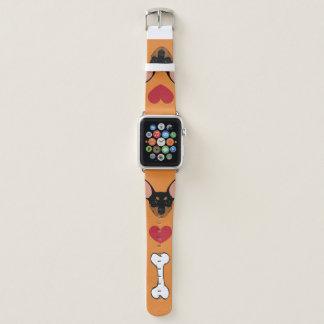 Schwarzes Miniaturpinscher-minimales Apple Watch Armband