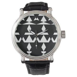 Schwarzes minimales Stammes- Uhr