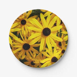 Schwarzes mit Augen Susans mit Blumen Pappteller