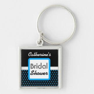 Schwarzes mit blaue Stern-Thema-Brautparty D06 Silberfarbener Quadratischer Schlüsselanhänger
