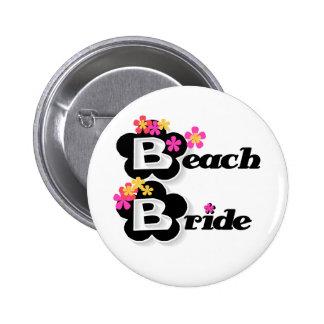Schwarzes mit Blumen-Strand-Braut Runder Button 5,7 Cm
