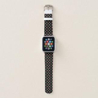 Schwarzes mit den rosa und weißen Punkten Apple Watch Armband