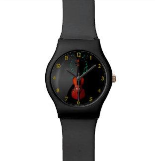 Schwarzes mit Violinen-Musik-Uhr Armbanduhr
