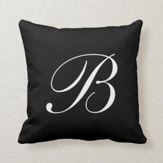 Schwarzes Monogramm-Kissen des Buchstabe-B Kissen