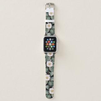 Schwarzes Muster OM der weißen Kamelie Apple Watch Armband
