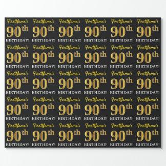 """Schwarzes, nachgemachtes Gold """"90. GEBURTSTAG """" Geschenkpapier"""