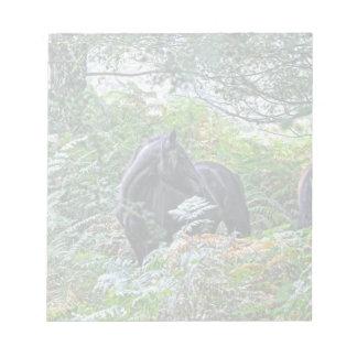 Schwarzes neues Waldpony u. Wald Großbritannien Notizblock