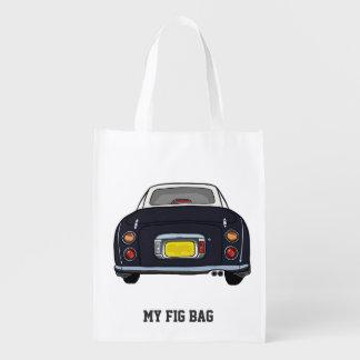 Schwarzes Nissan Figaro-Auto Wiederverwendbare Einkaufstasche