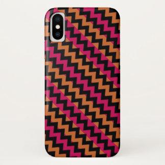 Schwarzes orange rosa Zickzack Muster iPhone X Hülle