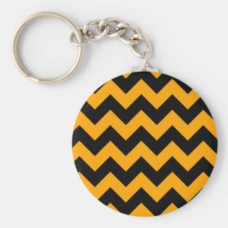 Schwarzes, orange Zickzack Streifen Schlüsselanhänger