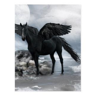 schwarzes Pegasus-Pferd Postkarte