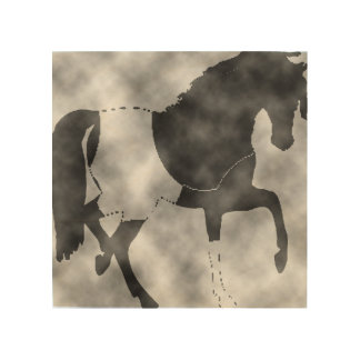 schwarzes Pferd Holzleinwand