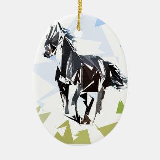 Schwarzes Pferd Keramik Ornament
