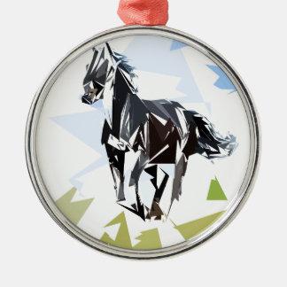 Schwarzes Pferd Rundes Silberfarbenes Ornament