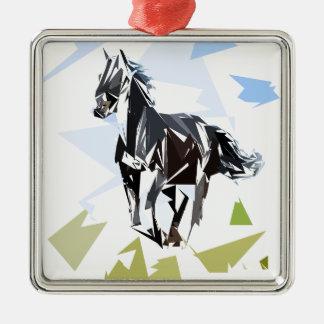 Schwarzes Pferd Silbernes Ornament