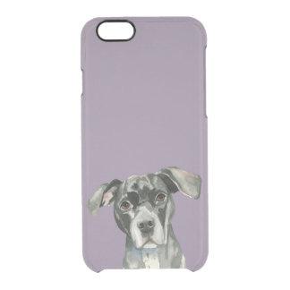 Schwarzes Pitbull-HundeAquarell-Porträt Durchsichtige iPhone 6/6S Hülle