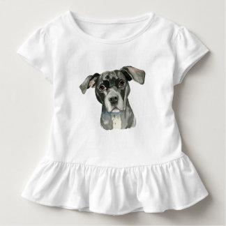 Schwarzes Pitbull-HundeAquarell-Porträt Kleinkind T-shirt
