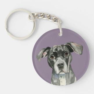 Schwarzes Pitbull-HundeAquarell-Porträt Schlüsselanhänger