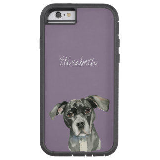 Schwarzes Pitbull-HundeAquarell-Porträt Tough Xtreme iPhone 6 Hülle