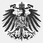 Schwarzes preussisches Eagle Runder Aufkleber