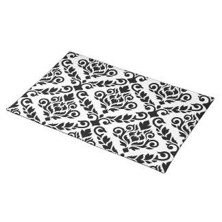Schwarzes Prima Damast-Fahrwerkes Ptn auf Weiß Stofftischset