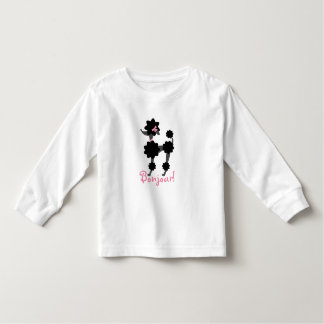 Schwarzes Pudel Bonjour Kleinkind-lange Hülse T-shirt