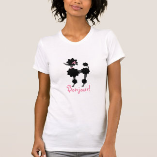 Schwarzes Pudel Bonjour T-Shirt