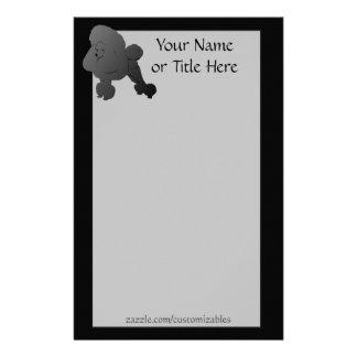 Schwarzes Pudel-Briefpapier Personalisierte Büropapiere